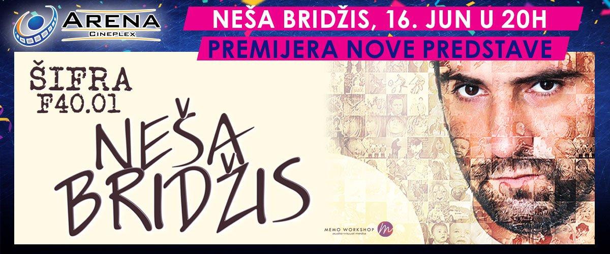 Predstava ŠIFRA F40.01, jednog od najpopularnijih srpskih stand up komičara, Neše Bridžisa, prvi put pred publikom