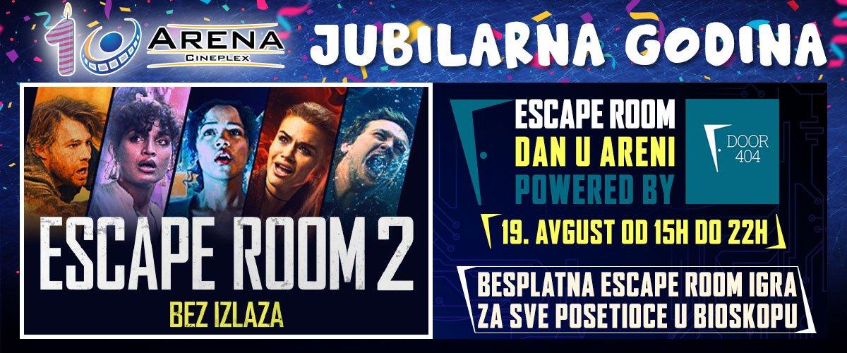 U četvrtak, 19. avgusta povodom filma Escape Room 2 - Bez izlaza u saradnji sa Door 404 Escape Room-om organizujemo besplatnu igru u bioskopu
